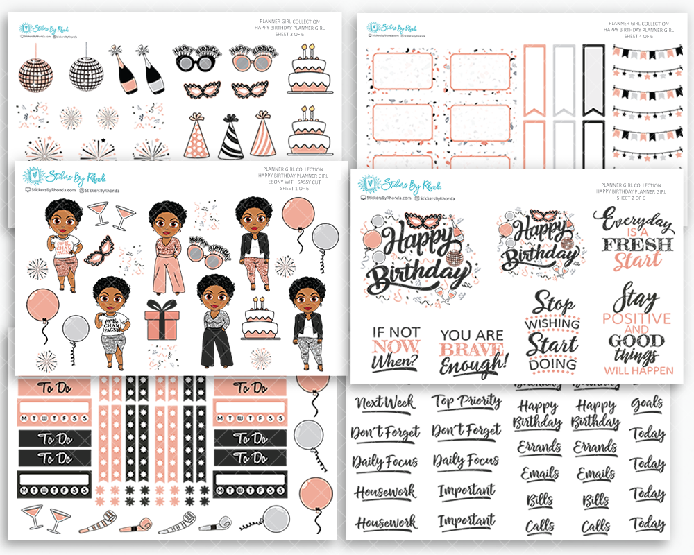 Ebony With Sassy Cut - Happy Birthday Planner Girl Sticker Pack Kit - Matte Planner Stickers - Planner Girl Collection