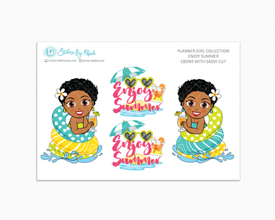 Ebony With Sassy Cut - Enjoy Summer Glossy Stickers - Limited Edition - Planner Girl Collection - Planner Stickers