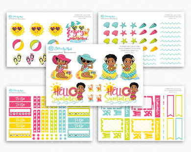 Ebony With Sassy Cut - Hello Summer Matte Planner Stickers - Planner Girl Collection