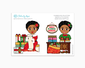 Ebony With Sassy Cut - Santa's Little Helper - Planner Girl Collection - Limited Edition - Christmas Stickers