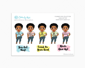 Ebony With Sassy Cut - Goal Getter - Limited Edition - Planner Girl Stickers