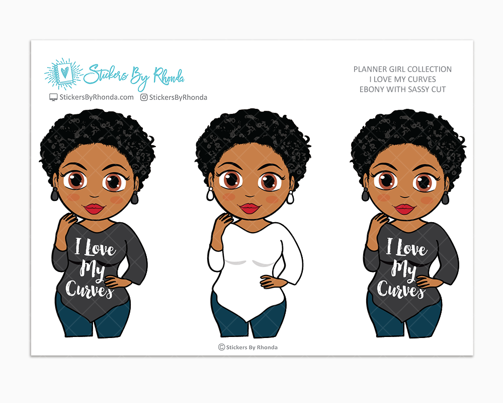 Ebony With Sassy Cut - I Love My Curves - Limited Edition - Planner Girl Collection