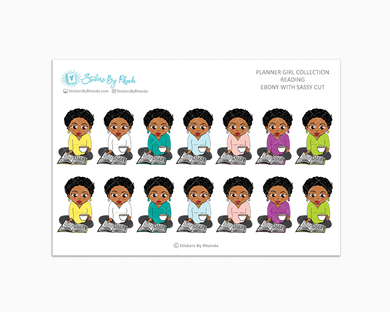 Ebony With Sassy Cut - Reading Planner Stickers - Me Time Planner Stickers