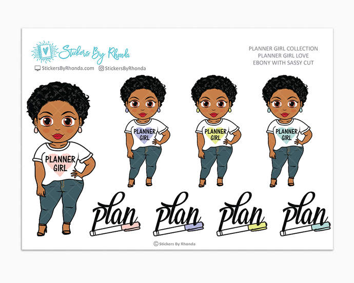 Ebony With Sassy Cut - Planner Girl Love - Limited Edition - Planner Girl Stickers