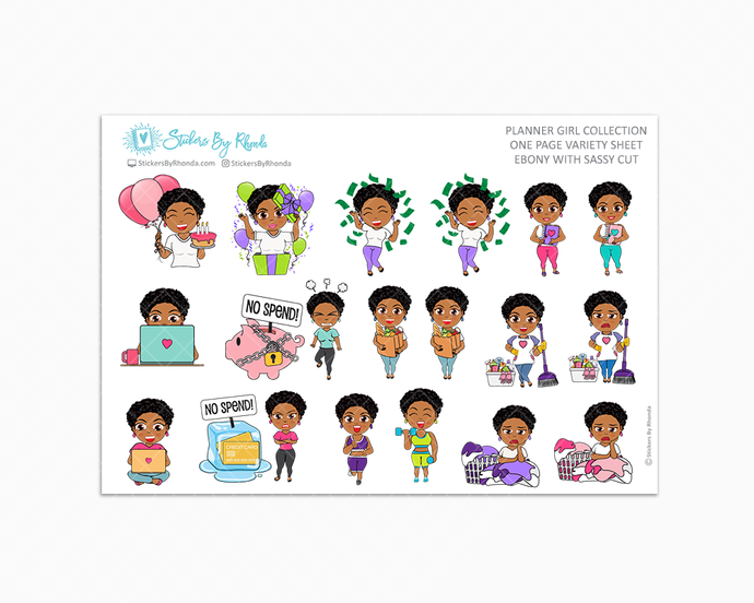 Ebony With Sassy Cut - Variety Sticker Sheet - Planner Stickers - Planner Girl Collection