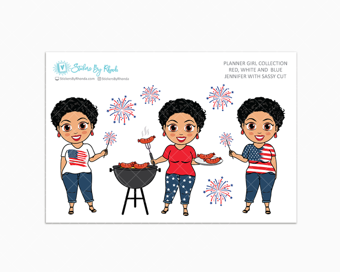 Jennifer With Sassy Cut - Red, White & Blue Glossy Stickers - Holiday Stickers - Planner Girl Collection - Planner Stickers