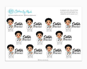 Jennifer With Sassy Cut - Doctor Appointment #1 - Medical Planner Stickers