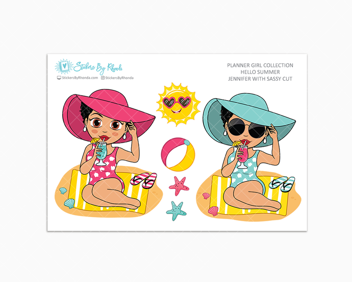 Jennifer With Sassy Cut - Hello Summer Glossy Stickers - Limited Edition - Planner Girl Collection - Planner Stickers