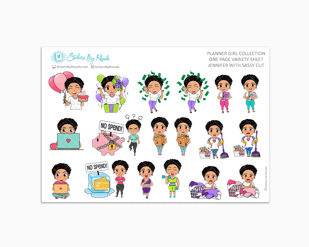 Jennifer With Sassy Cut - Variety Sticker Sheet - Planner Stickers - Planner Girl Collection