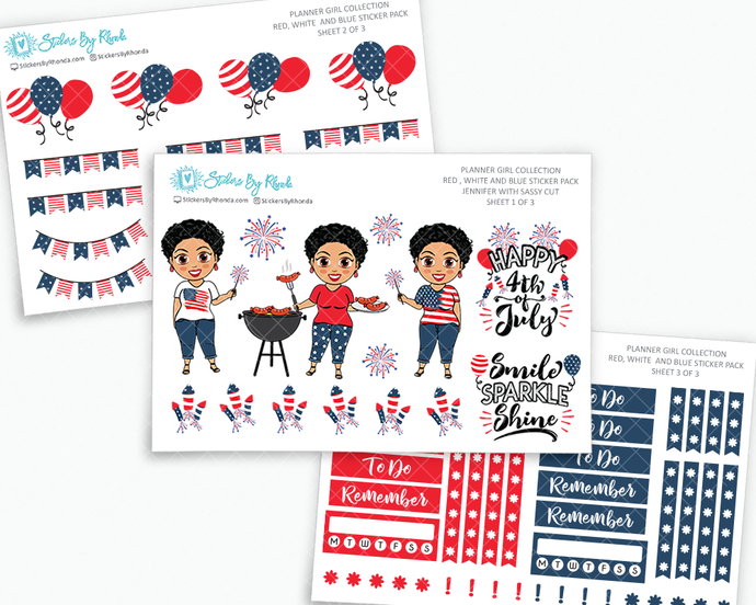 Jennifer With Sassy Cut - Red, White & Blue Matte Planner Stickers - Planner Girl Collection - Plan Outside The Box Sticker Pack