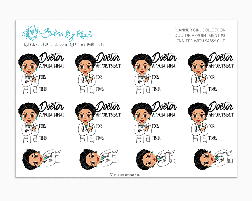 Jennifer With Sassy Cut - Doctor Appointment #3 - Medical Planner Stickers