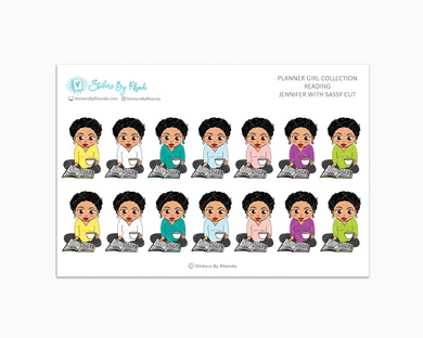 Jennifer With Sassy Cut - Reading Planner Stickers - Me Time Planner Stickers