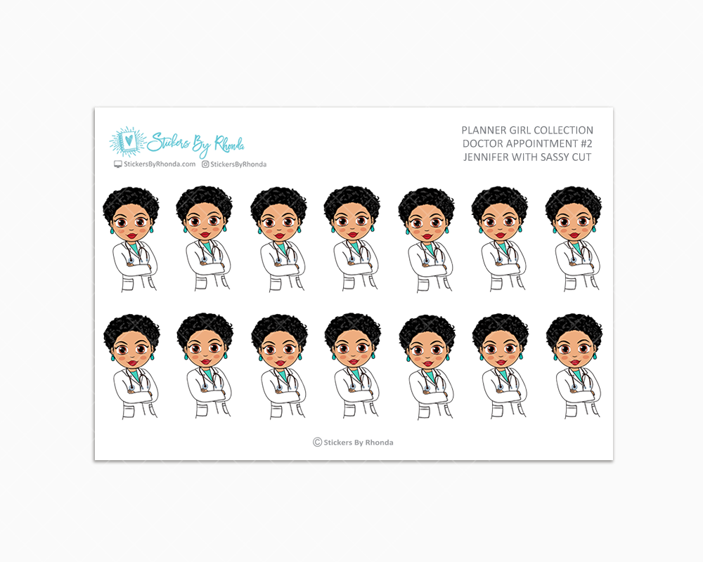 Jennifer With Sassy Cut - Doctor Appointment #2 - Medical Planner Stickers