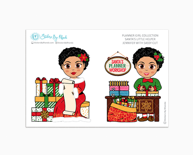 Jennifer With Sassy Cut - Santa's Little Helper - Planner Girl Collection - Limited Edition - Christmas Stickers