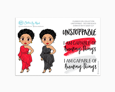 Jennifer With Sassy Cut - Unstoppable - Red & Black - Limited Edition - Quote Stickers - Planner Girl Collection - Planner Stickers