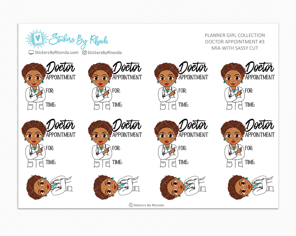 Mia With Sassy Cut - Doctor Appointment #3 - Medical Planner Stickers