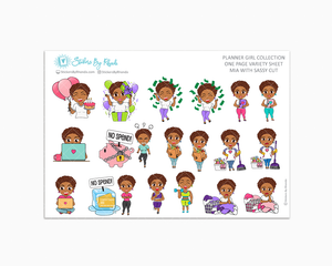 Mia With Sassy Cut - Variety Sticker Sheet - Planner Stickers - Planner Girl Collection