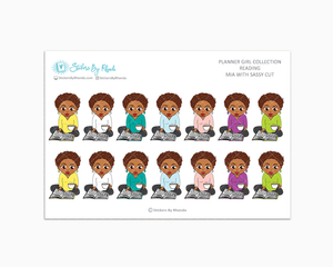 Mia With Sassy Cut - Reading Planner Stickers - Me Time Planner Stickers