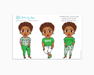 Mia With Sassy Cut - Green Is My Color - Limited Edition - Planner Stickers
