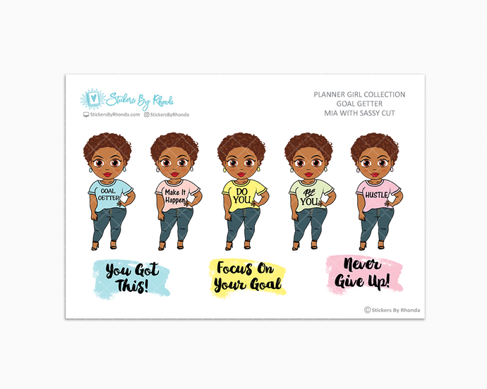 Mia With Sassy Cut - Goal Getter - Limited Edition - Planner Girl Stickers