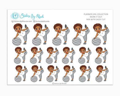 Mia With Sassy Cut - Work It Out - Fitness Planner Stickers - Exercise Planner Stickers
