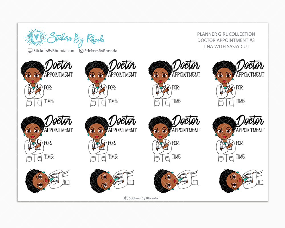 Tina With Sassy Cut - Doctor Appointment #3 - Medical Planner Stickers