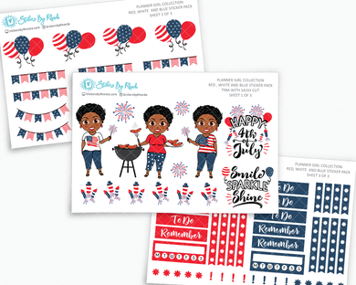 Tina With Sassy Cut - Red, White & Blue Matte Planner Stickers - Planner Girl Collection - Plan Outside The Box Sticker Pack