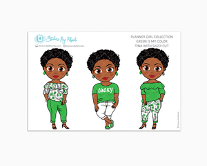 Tina With Sassy Cut - Green Is My Color - Limited Edition - Planner Stickers