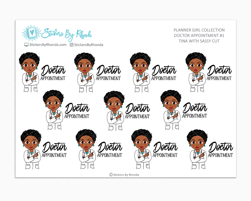 Tina With Sassy Cut - Doctor Appointment #1 - Medical Planner Stickers