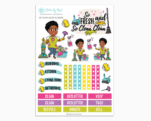 Tina With Sassy Cut - Get Your House In Order - One Page Sticker Kit - Cleaning Stickers