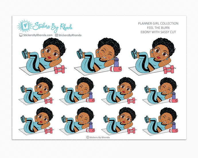 Ebony With Sassy Cut - Feel The Burn - Fitness Planner Stickers - Exercise Planner Stickers