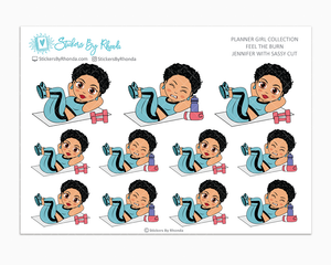 Jennifer With Sassy Cut - Feel The Burn - Fitness Planner Stickers - Exercise Planner Stickers