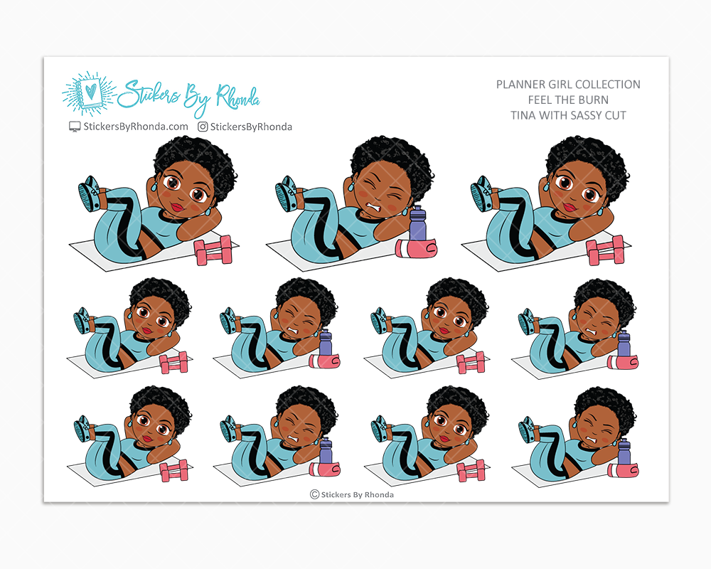 Tina With Sassy Cut - Feel The Burn - Fitness Planner Stickers - Exercise Planner Stickers