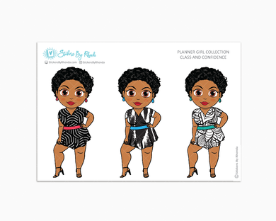 Ebony With Sassy Cut - Class & Confidence - Limited Edition - Planner Girl Collection - Planner Stickers