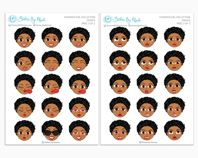 Ebony With Sassy Cut - Planner Girl Emojis - Emotion Stickers - Planner Girl Collection