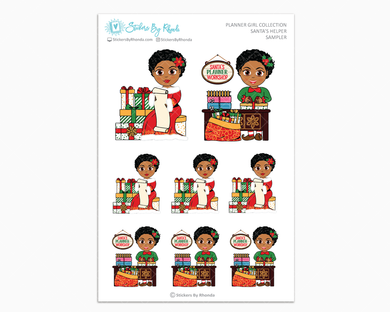 Ebony With Sassy Cut - Santa's Helper Sampler - Christmas Stickers - Holiday Stickers