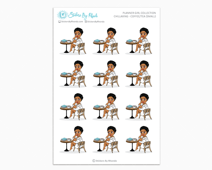 Ebony With Sassy Cut - Chillaxing - Coffee/Tea (Small) - Planner Girl Collection
