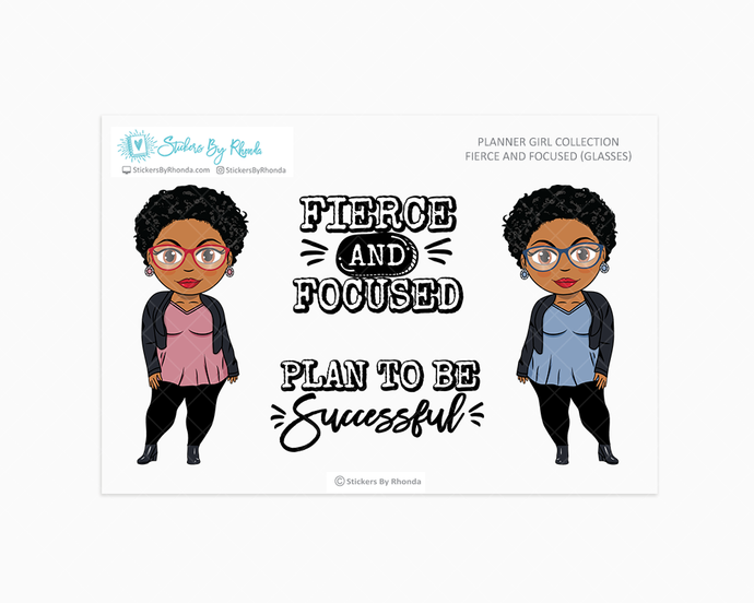 Ebony With Sassy Cut & Glasses - Fierce And Focused - Limited Edition - Planner Girl Collection
