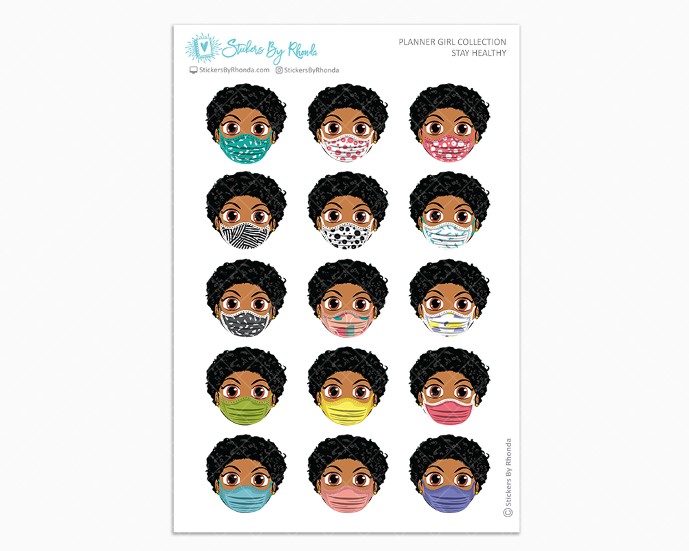 Ebony with Sassy Cut -  Stay Healthy - Planner Girl Stickers