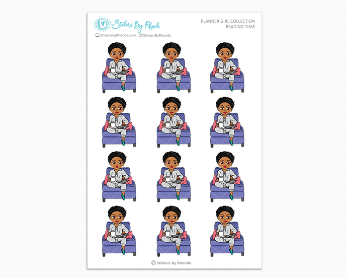 Ebony With Sassy Cut - Reading Time - Planner Girl Collection - Planner Stickers