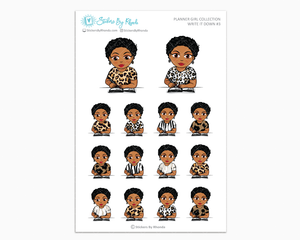 Ebony With Sassy Cut - Write It Down #3 - Planner Girl Collection - Planner Stickers
