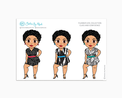 Jennifer With Sassy Cut - Class & Confidence - Limited Edition - Planner Girl Collection - Planner Stickers