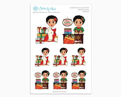 Jennifer With Sassy Cut - Santa's Helper Sampler - Christmas Stickers - Holiday Stickers