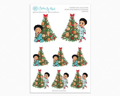 Jennifer With Sassy Cut - Merry Gingerbread Christmas Sampler - Christmas Stickers - Holiday Stickers