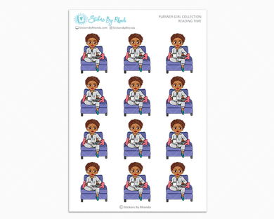 Mia With Sassy Cut - Reading Time - Planner Girl Collection - Planner Stickers