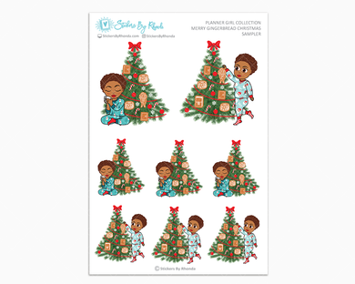 Mia With Sassy Cut - Merry Gingerbread Christmas Sampler - Christmas Stickers - Holiday Stickers