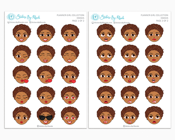 Mia With Sassy Cut - Planner Girl Emojis - Emotion Stickers - Planner Girl Collection