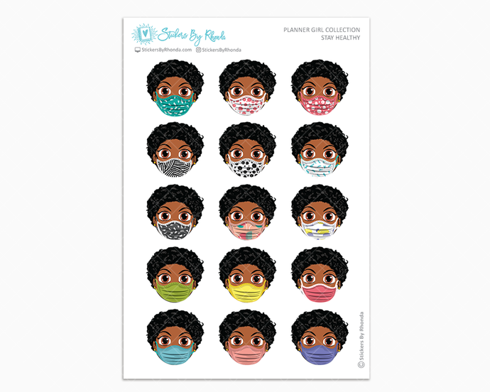 Tina with Sassy Cut -  Stay Healthy - Planner Girl Stickers