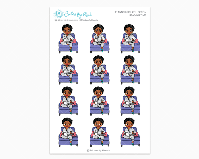 Tina With Sassy Cut - Reading Time - Planner Girl Collection - Planner Stickers