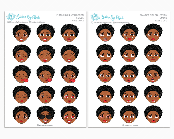 Tina With Sassy Cut - Planner Girl Emojis - Emotion Stickers - Planner Girl Collection